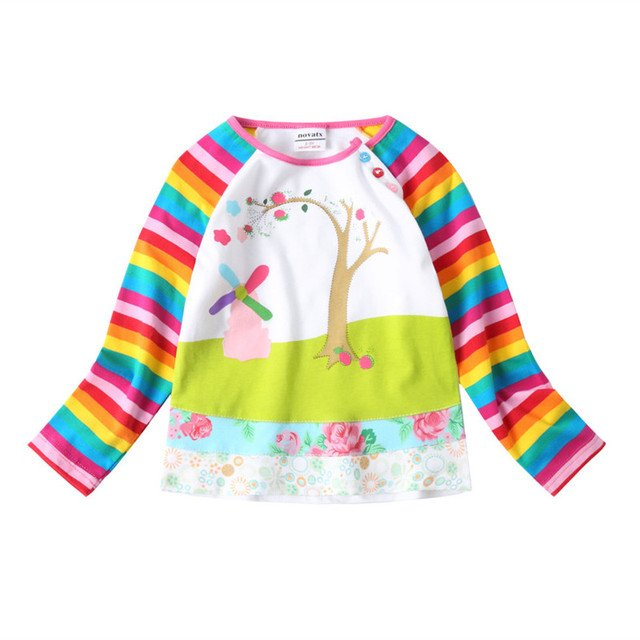 girls t shirt long sleeve girls tops and tees  kids clothes spring autumn cotton tops for kids children clothing  F1411