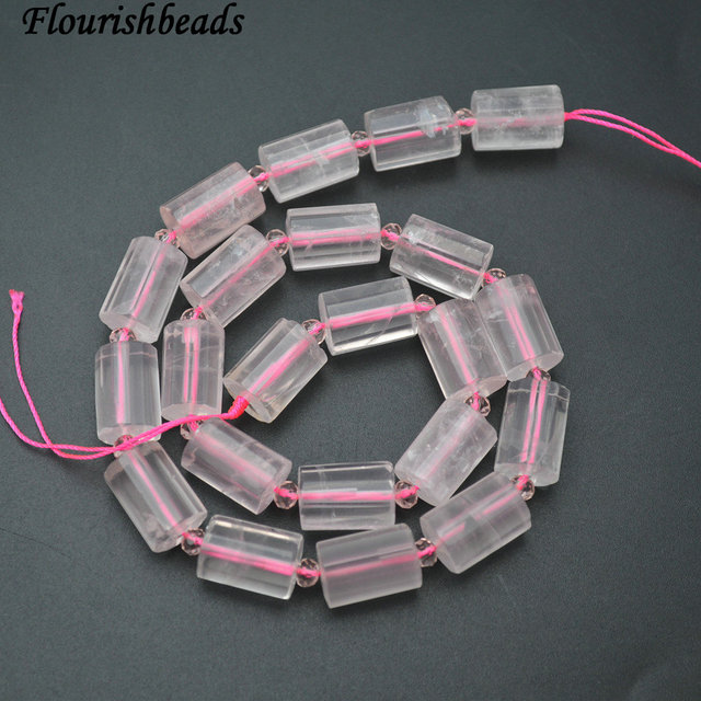 Faceted 10x14mm Natural Rose Quartz Cylinder Shape Stone Loose Beads