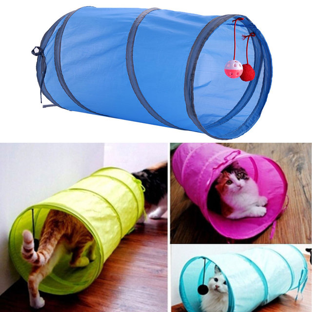 Camouflage Crackle Chute Pet Cat Small Animal Tunnel Channel Blue Toys With