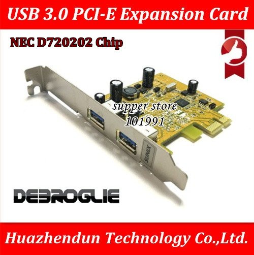 DEBROGLIE  USB 3.0 PCI-E Expansion Card Adapter External 2 Port USB3.0 NEC D720202 No need external power supply