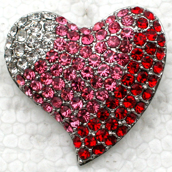 12pcs Wholesale Fashion Brooch Rhinestone Heart Pin brooches Jewelry Gift C101809