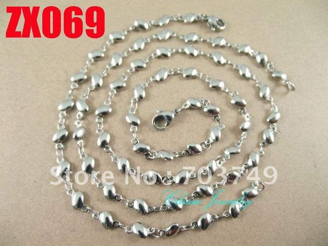 Wholesale  his-and-hers stainless steel  cobblestone chain necklace bracelet set fashion men's women jewelry 10set ZX069