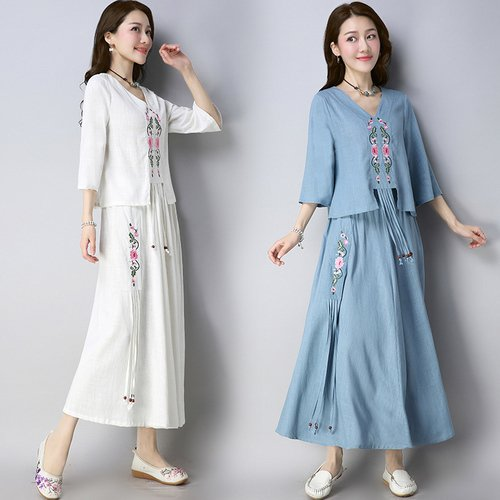 2018 Autumn Ethnic Style Cotton And Linen Two-piece Dress Vintage V-neck Ankle-length Chinese Style Dresses Womens