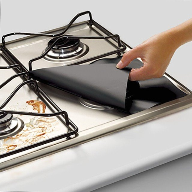 4pcs Reusable Gas Range Stovetop Burner Protector Liner Cover For Anti-fouling and oil Protector Liner Cleaning Kitchen Tools