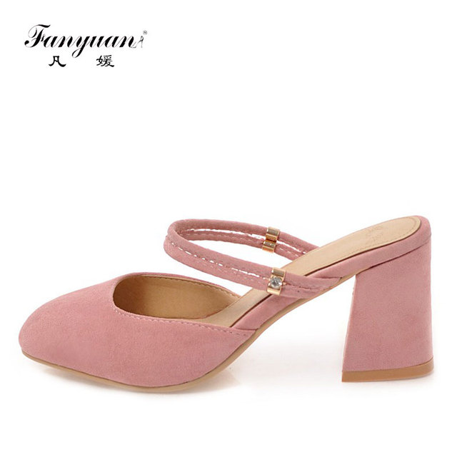 Fanyuan Woman Shoes 2018 Spring New Ladies High Heels Concise Ladies Mules Shoes Square Toe Sexy Lady Party Wedding High Pumps