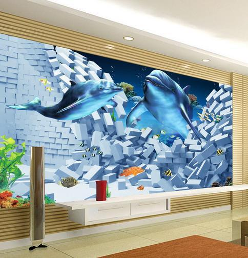 3d wallpaper custom The undersea world dolphin 3 d TV setting wall design wallpaper