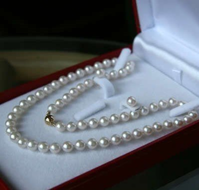 Nobility jewelry AAA 9-8MM White Akoya Cultured Pearl Necklace Earring