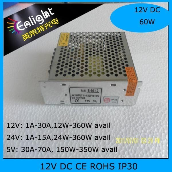 12V 5A 60W switch mode power supply,11*7.8*3.7cm, LED power supply LED Strip power supply NON-RAINPROOF SMPS