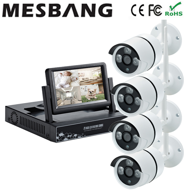 New 960P IP security camera system wireless cctv camera kits wifi IP camera system 1.3MP CCTV NVR 4ch kits with 7 inch monitor
