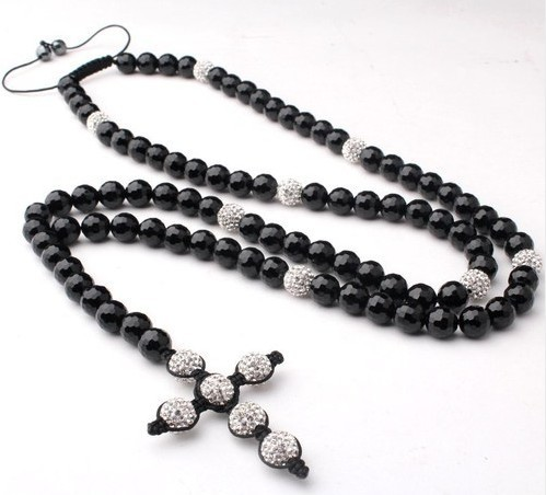 Rosary Necklace a Cross Necklace Clay Crystal Balls and Black Onyx Stones