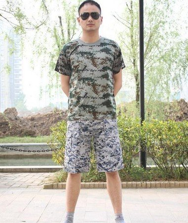 2015  new outdoor men's short-sleeved T-shirt camouflage Quick-drying stretch woodland camouflage jungle desert camouflage