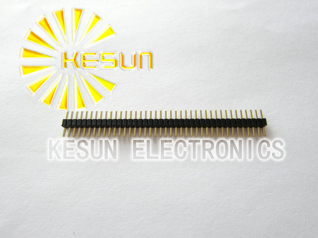200pcs/lot 1.27mm 1X40 Single Row Male Pin Header Strip Gold-plated  (Plastic in the middle)