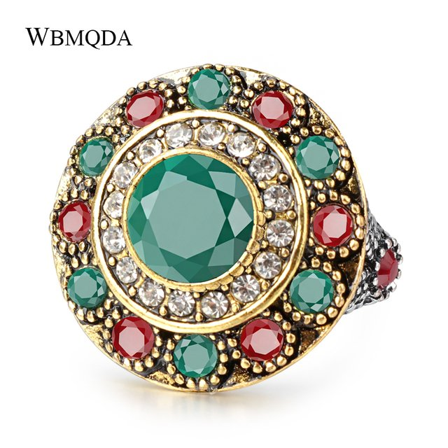 Vintage Ethnic Indian Wedding Rings For Women Flower Crystal Silver Color Ring Trendy Bohemian Jewelry 2018 Free Shipping