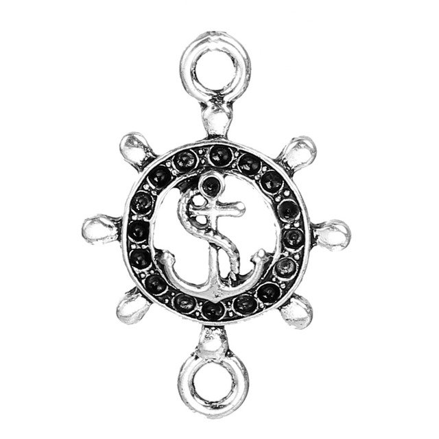 Doreen Box Zinc Based Alloy Pendant Rudder Antique Silver Anchor Or Owl Carved Hollow (Can Hold Pointed Rhinestone) , 10 PCs
