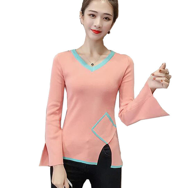 JKKUCOCO Newest Sweet Women Sweaters Long Sleeve V-neck Striped assorted colors Fashion Sweaters Women pullover sweater Tops