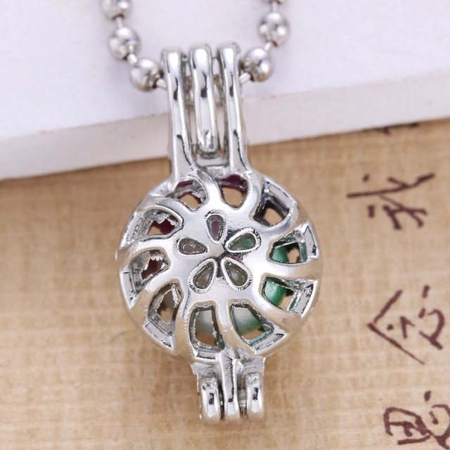 6pcs Bright Silver flower Pearl Cage Jewelry Making Supplies Beads Cage Pendant Essential Oil Diffuser For Oyster Pearl 030114
