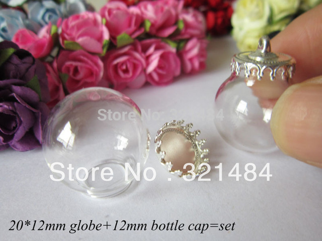 wholesale 50X 20*12mm globe + 12mm silver plated bottle caps set glass bottle vial pendants for jewelry making diy
