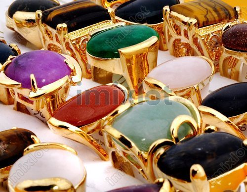 Wholesale lots mixed 10pcs natural stone gold tone Rings band size 7 7.5 8 8.5 9 Vintage Women Men Rings Jewelry Free