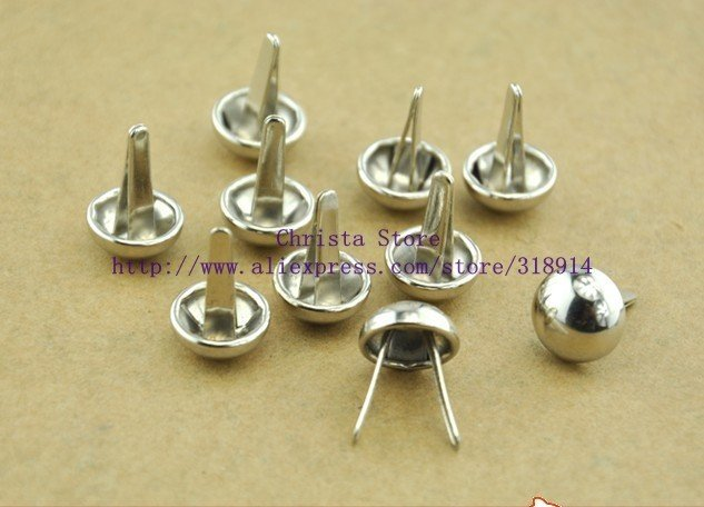 50pcs Retail 10mm Alloy Silver Round Studs With Long Claws Bag Mushroom Riveting DIY Rivet Clothing Accessory Garment Rivets