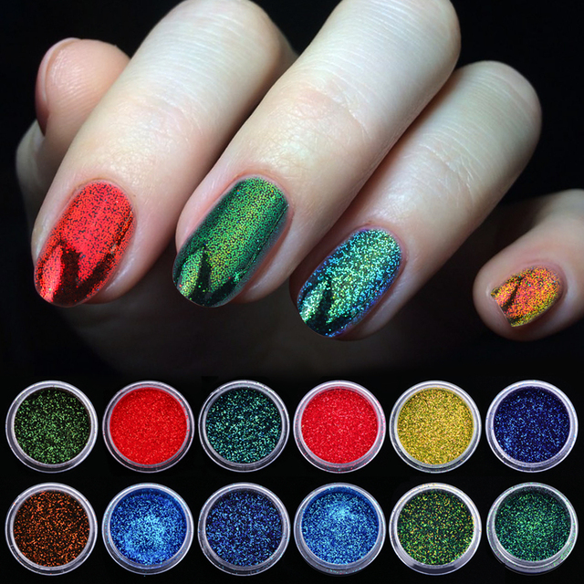1 Bottle Chameleon Flakes Nail Glitter Power Shining Holographic Color Gradient Chrome Nail Pigment Dust Manicure SABSF01-12