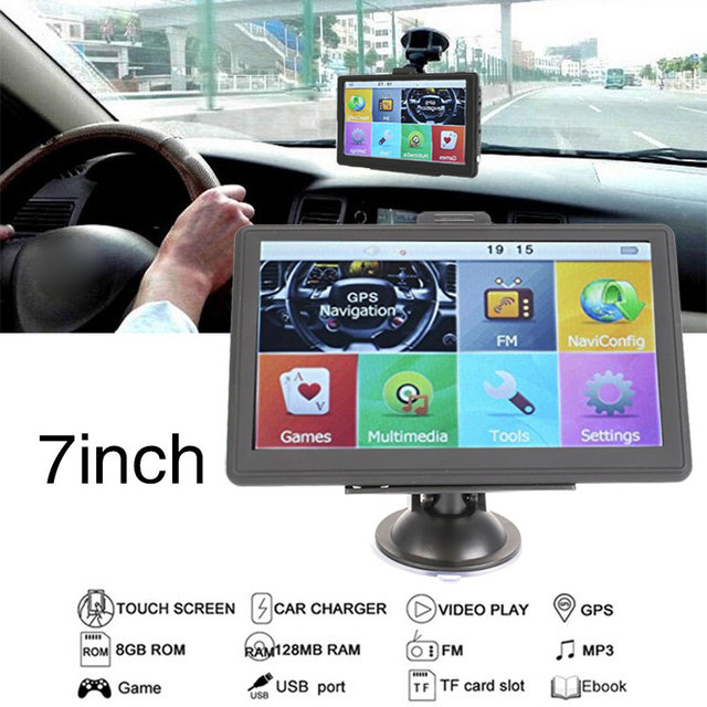 """GPS Navigator 800MHZ Video TFT LCD Smart Audio FM Radio Game Player 8GB 7"""" Built-In Free Map E-Book Automobile"""