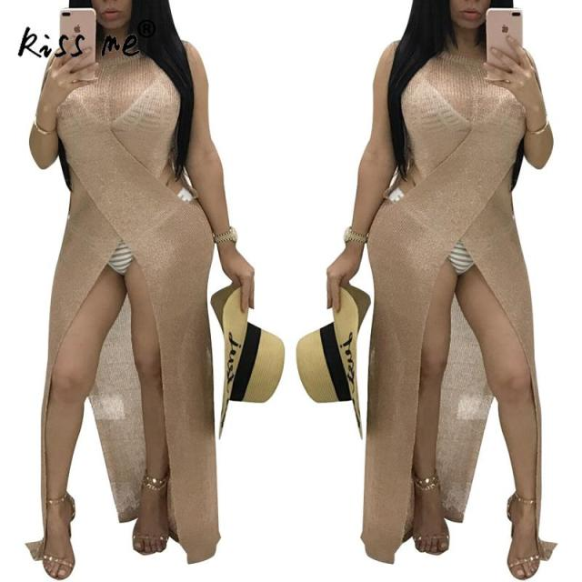 Front Slit Women's Dresses Khaki Beach Cover Up Women's Tunic Sleeveless Beachwear Cover-Ups Summer Dress for Women