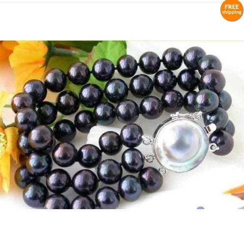 New Beautiful!3Rows AA 9-10MM Akoya Black color South Sea Pearl Bracelet 7.5''inchs & nice south sea shell Mb Pearl Clasp FN118