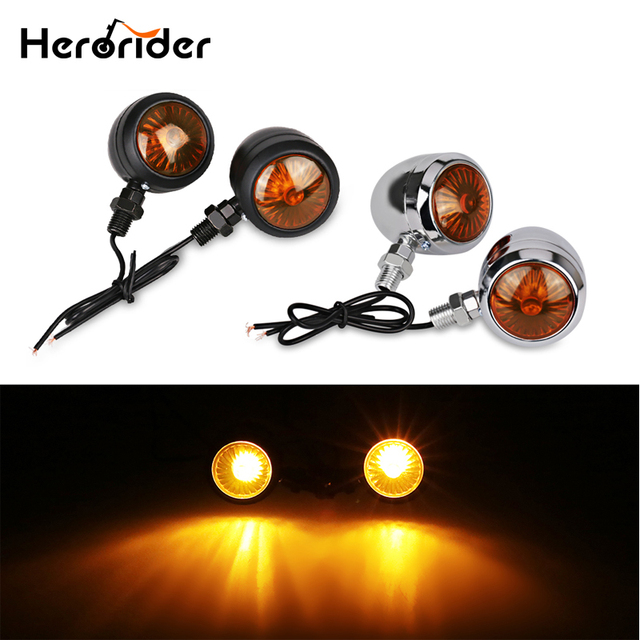 Herorider Amber Black Universal Led Motorcycle Turn Signals Indicators Bullet Turn Signal Light Lamp Blinkers Scooter Motor