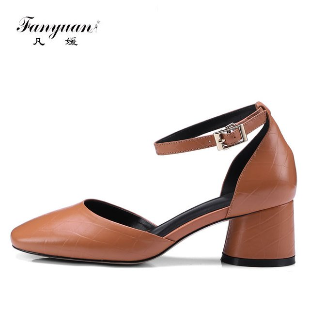 Fanyuan Women Genuine Leather Ankle Strap Pumps Two Pieces Pointed Toe High Heel Shoes 5.5CM Chaussure Femme Solid Pumps