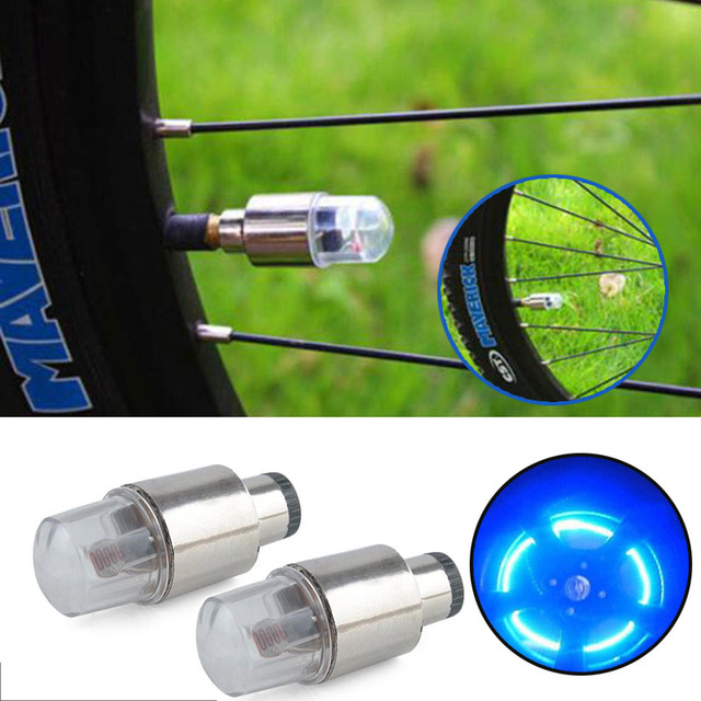 2Pcs/set Bike LED Multicolour Car Wheel Tire Tyre Valve Cap Spoke Neon Lamp