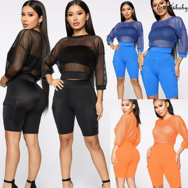 Sexy Women Summer Perspective Lace Mesh Long Sleeve O-Neck Pullover Tops Ladies Transparent Hollow Out Crop Top T-Shirts