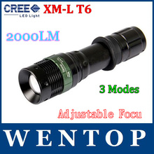 Waterproof 2000LM CREE XM-L T6 LED 3 modes Flashlight Torch 18650 Adjustable Flashlight With tracking number