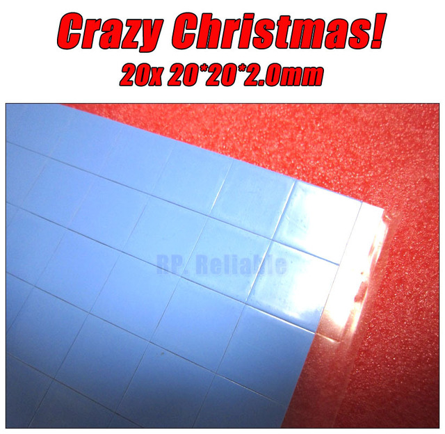 Crazy Promotion! 20x 20mm*20mm*2.0mm Soft Silicone Heat Transfer Pads Mat for LED Laptop Graphic Cards GPU PC Cool Solution