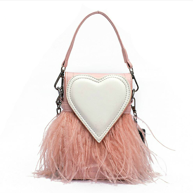 Sweet Lady Mini Tote bag 2018 New Fashion Quality PU Leather Women's Designer Handbag Party Feather Chain Shoulder Messenger bag