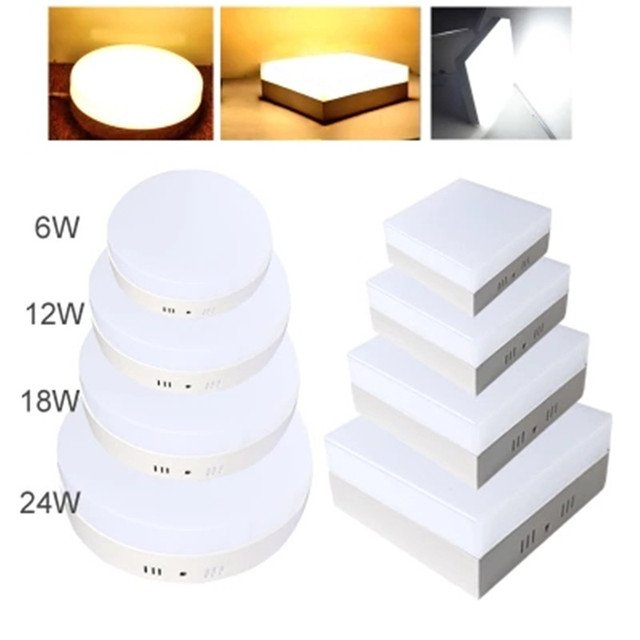 No Cut LED Ceiling Light 6W 12W 18W 24W Surface Ceiling Lamps AC85-265V 180 Beam Angle Round Square Panel Light Hallway Lamp