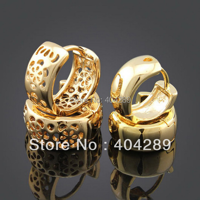 2 Pairs yellow gold GP woman man hollow polished Huggie Earring 14mm,13mm
