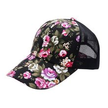 Summer Women Female Floral Hat Baseball Cap Mesh Cool Cap Leisure Sun Visor Sun Hat Snapback Cap 2017