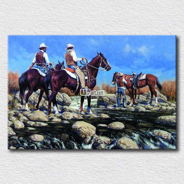 Beautiful natural scenery paintings riding horse people oil painting printed on canvas living room wall decoration