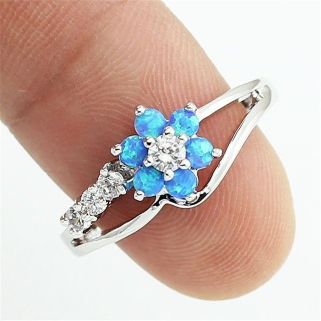 Marcatsa Fashion Flower AAA Zircon Ring Female White/Blue/Pink Fire Imitation Opal Rings for Women Lovely Jewelry Christmas Gift