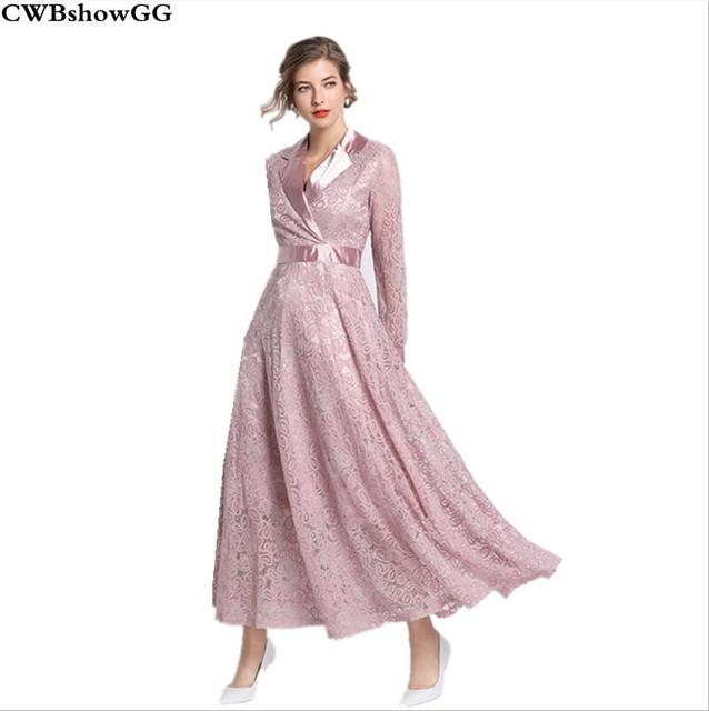 CWBshowGG Spring 2019 new Korean fashion turn-down collar long sleeve hollow out lace embroidered high waist long dress