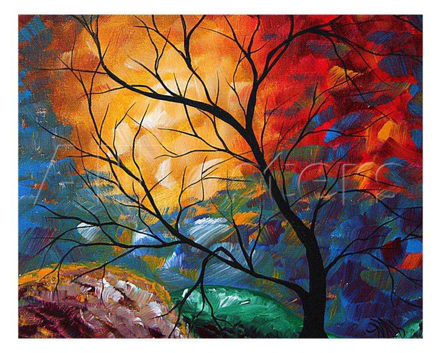 Gift Modern Art Landscape Jeweled Dreams oil painting Trees on canvas High quality hand painted Room Decoration