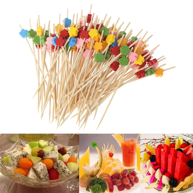 New 100pcs 12cm Plum Blossom Bamboo Cocktail Picks Fruit Food Sticks Disposable Toothpicks