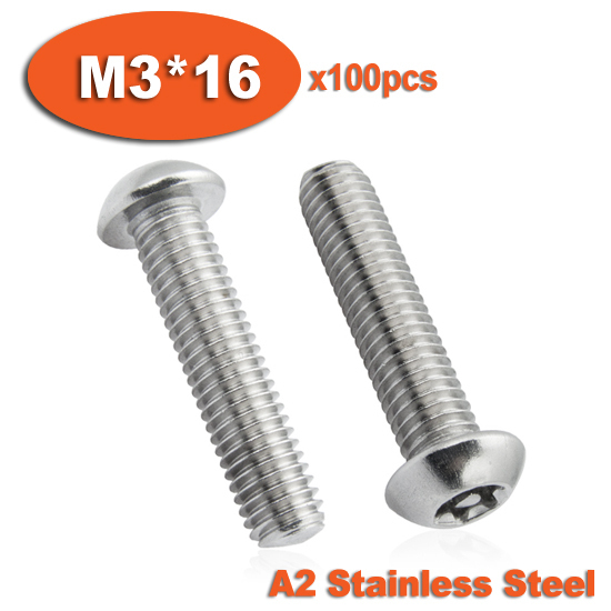 100pcs ISO7380 M3 x 16 A2 Stainless Steel Torx Button Head Tamper Proof Security Screw Screws