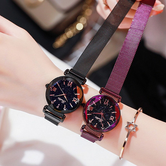 Top Luxury lady Watch Women Dress Crystal Watches Fashion Blue Rose Gold Quartz Watches Female Simple Magnet Buckle Wristwatches