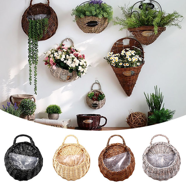 Hanging Wicker Basket With Handle Rattan Flower Pot Plant Vase Wall Decoration Hallway Crafts Plant Hanger Container Garden Pot
