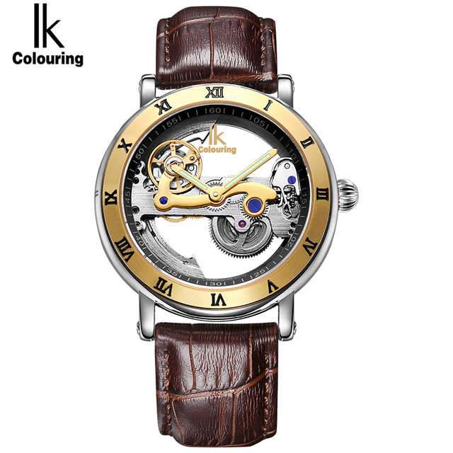 IK Colouring Luxury Brand Men's Watches Simple Skeleton Transparent Case Fashion Automatic Hollow Out Man Mechanical Watches