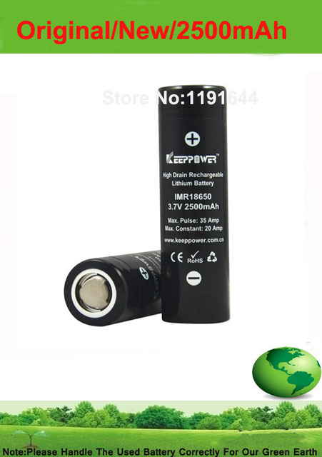 Free shipping!! 10PCS/lot Genuine Keeppower 3.7V 18650 2500mah Pulse 35A discharge battery