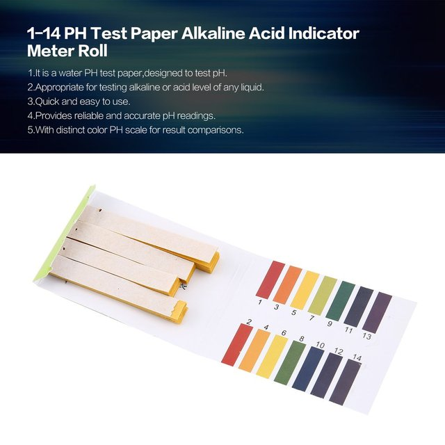 1-14 PH Test Paper Alkaline Acid Indicator Meter Roll For Water Urine Saliva Soil Litmus Accurate Testing Measuring Pool