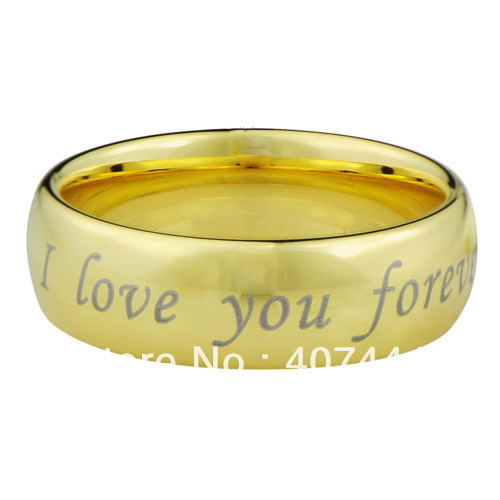 Free Shipping!USA HOT SALES Small Cheap Price Classic Mens' Tungsten Bridal Ring Gold Color I love you forever Wedding Band