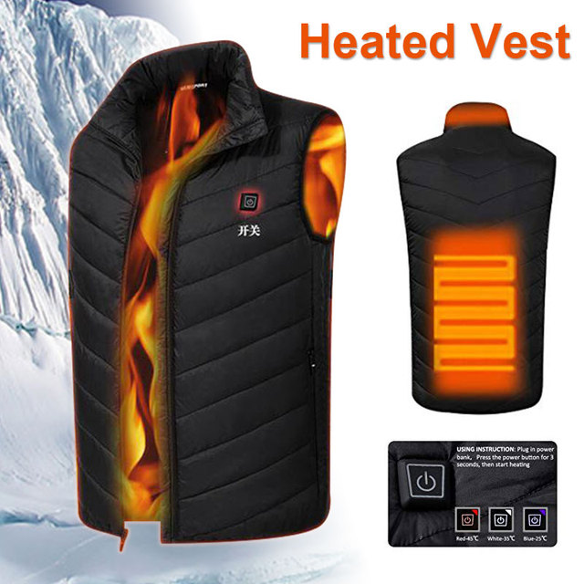 Electric Heated Vest USB Black Sleeveless Clothing Heating Coat Hot Heated Pad Down Cotton Body Warmer Jacket Heated Thermal
